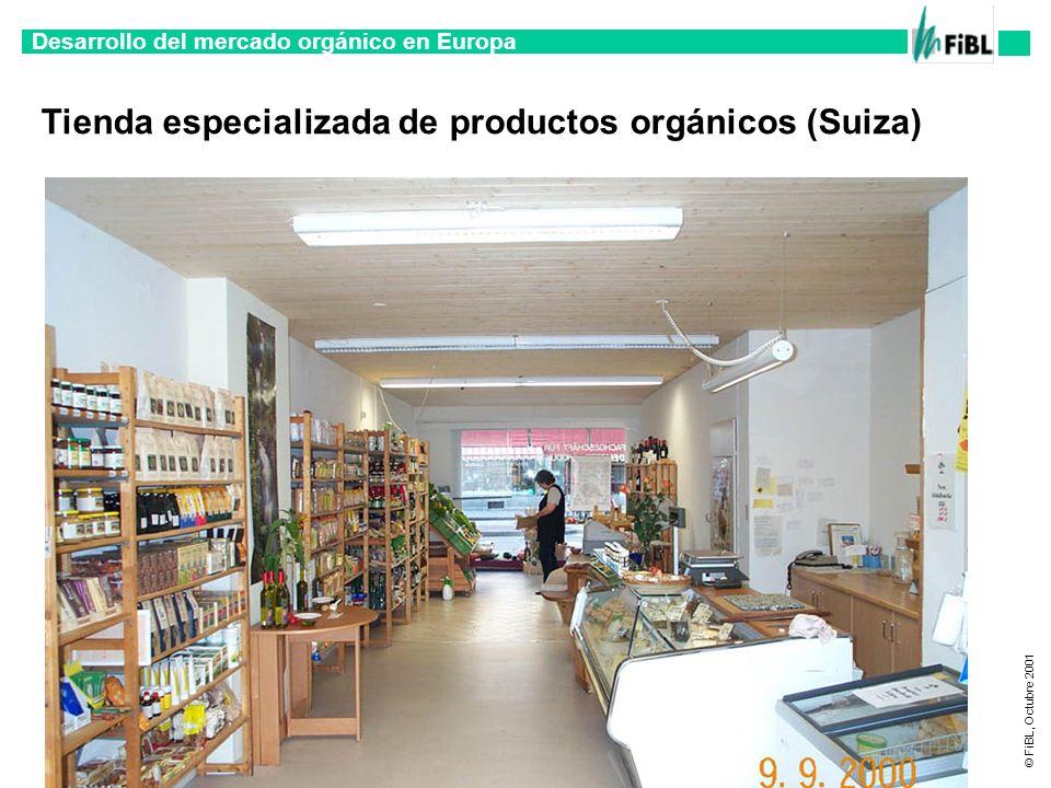 Desarrollo del mercado orgánico en Europa © FiBL, Octubre 2001 Tienda especializada de productos orgánicos (Suiza)