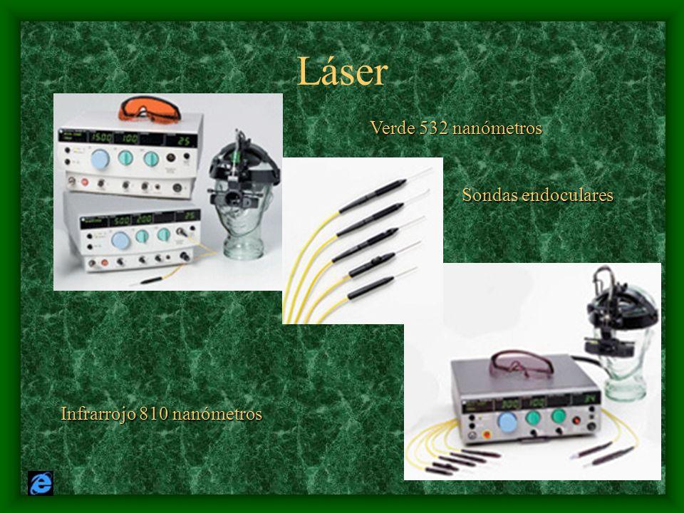 Láser Verde 532 nanómetros Infrarrojo 810 nanómetros Sondas endoculares