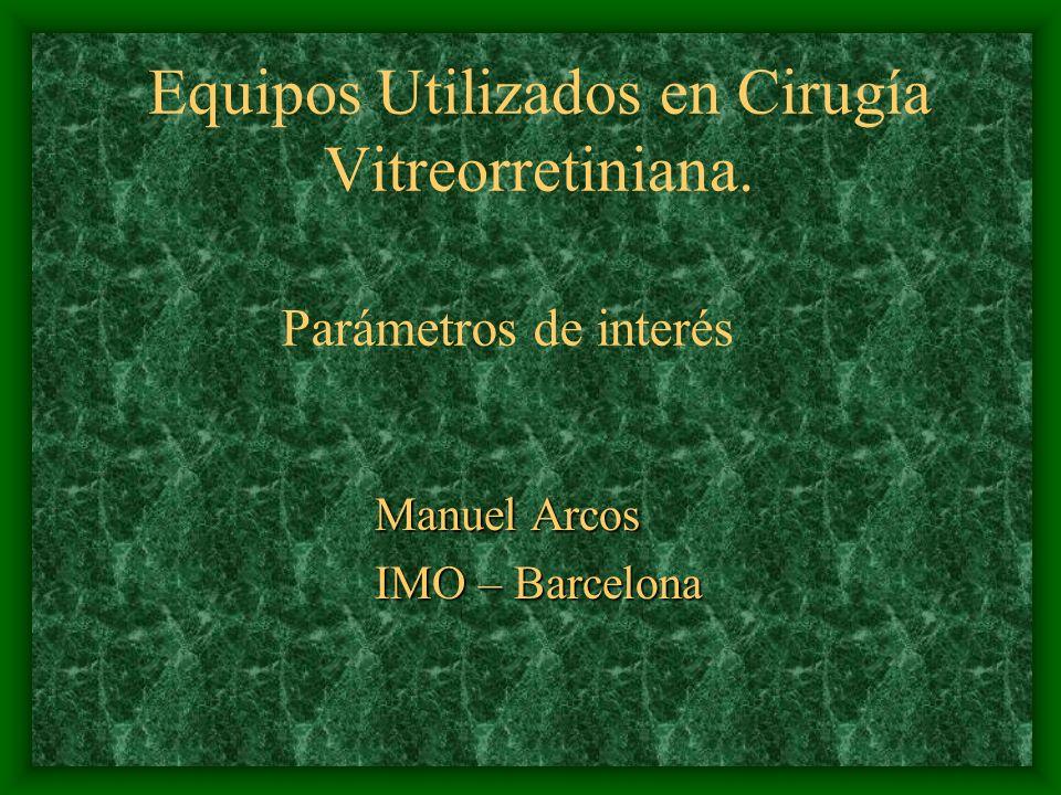 Equipos Utilizados en Cirugía Vitreorretiniana. Manuel Arcos IMO – Barcelona Parámetros de interés