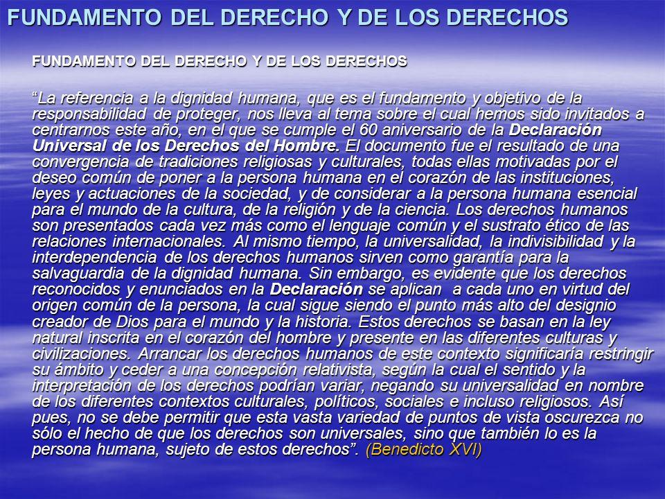 FUNDAMENTO DEL DERECHO Y DE LOS DERECHOS La referencia a la dignidad humana, que es el fundamento y objetivo de la responsabilidad de proteger, nos ll