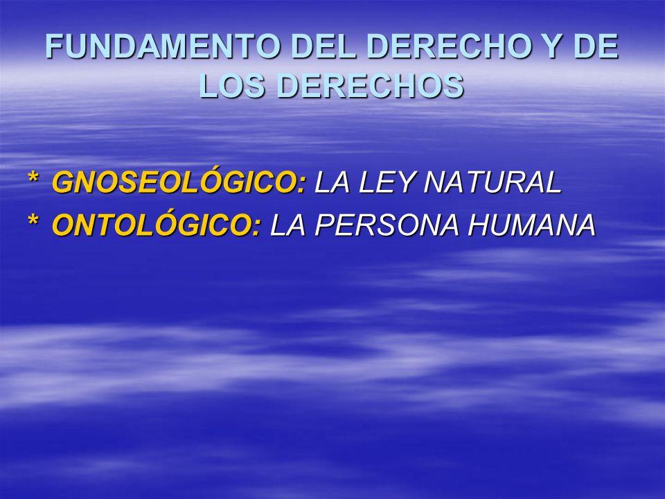 FUNDAMENTO DEL DERECHO Y DE LOS DERECHOS *GNOSEOLÓGICO: LA LEY NATURAL *ONTOLÓGICO: LA PERSONA HUMANA