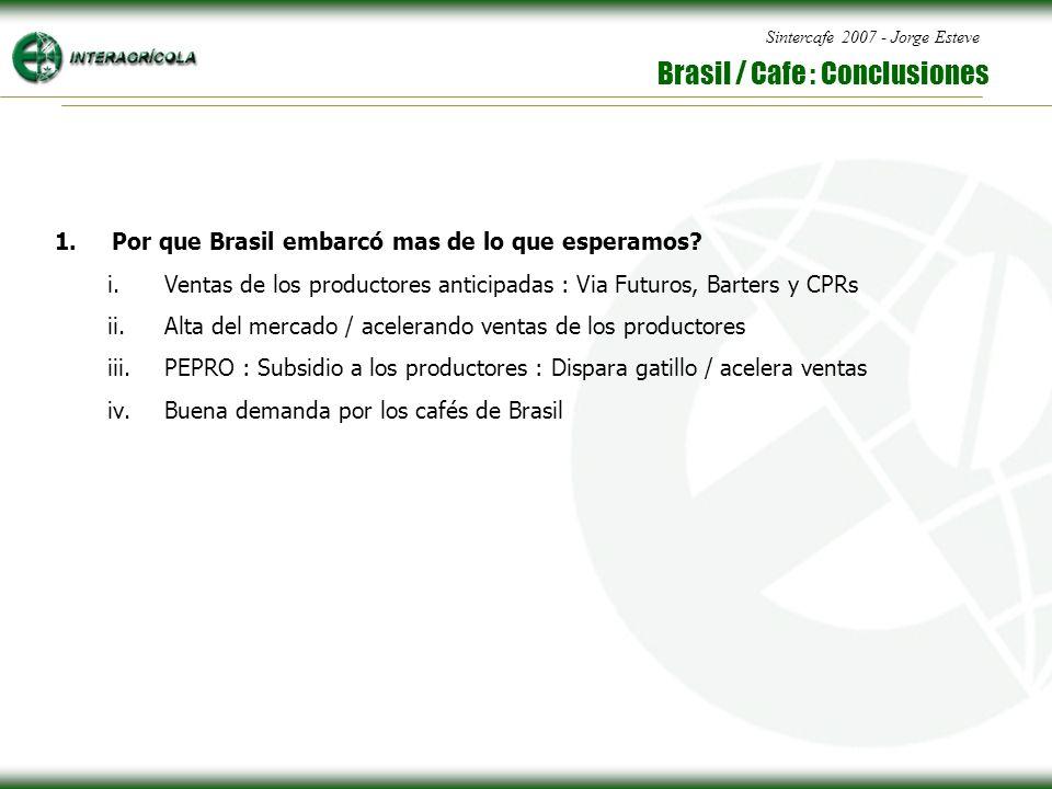 Sintercafe 2007 - Jorge Esteve Brasil / Cafe : Conclusiones 1.Por que Brasil embarcó mas de lo que esperamos.
