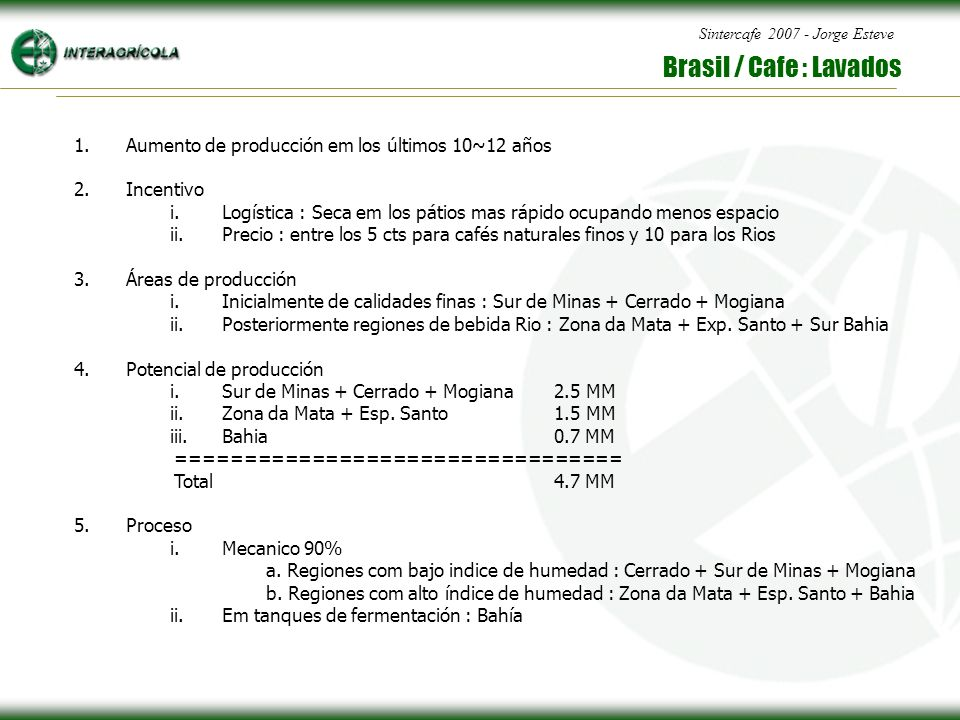 Sintercafe 2007 - Jorge Esteve Brasil / Cafe : Lavados 1.Aumento de producción em los últimos 10~12 años 2.Incentivo i.Logística : Seca em los pátios mas rápido ocupando menos espacio ii.Precio : entre los 5 cts para cafés naturales finos y 10 para los Rios 3.Áreas de producción i.Inicialmente de calidades finas : Sur de Minas + Cerrado + Mogiana ii.Posteriormente regiones de bebida Rio : Zona da Mata + Exp.