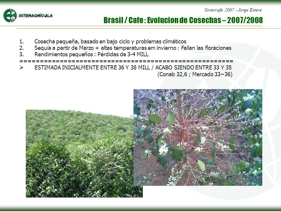 Sintercafe 2007 - Jorge Esteve Brasil / Cafe : Evolucion de Cosechas – 2007/2008 1.Cosecha pequeña, basado en bajo ciclo y problemas climáticos 2.Sequía a partir de Marzo + altas temperaturas em invierno : Fallan las floraciones 3.Rendimientos pequeños : Pérdidas de 3-4 MILL ====================================================== ESTIMADA INICIALMENTE ENTRE 36 Y 38 MILL / ACABO SIENDO ENTRE 33 Y 35 (Conab 32,6 ; Mercado 33~36)