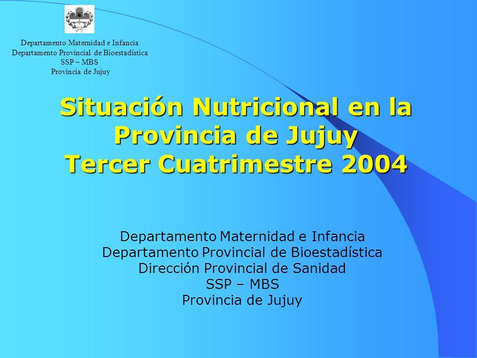 Departamento Maternidad e Infancia Departamento Provincial de Bioestadística SSP – MBS Provincia de Jujuy Tendencia en la Cobertura La cobertura (niños controlados sobre población estimada del mismo grupo de edad), alcanza el 60.3 % en el tercer cuatrimestre de 2004.