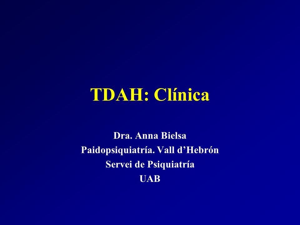 TDAH: Clínica Dra. Anna Bielsa Paidopsiquiatría. Vall dHebrón Servei de Psiquiatría UAB