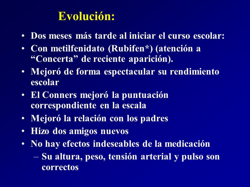 Evolución: Dos meses más tarde al iniciar el curso escolar: Con metilfenidato (Rubifen*) (atención a Concerta de reciente aparición). Mejoró de forma
