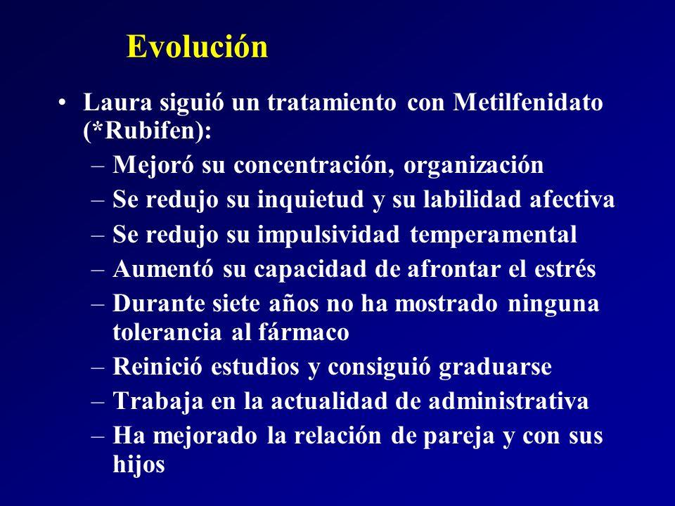 Evolución Laura siguió un tratamiento con Metilfenidato (*Rubifen): –Mejoró su concentración, organización –Se redujo su inquietud y su labilidad afec