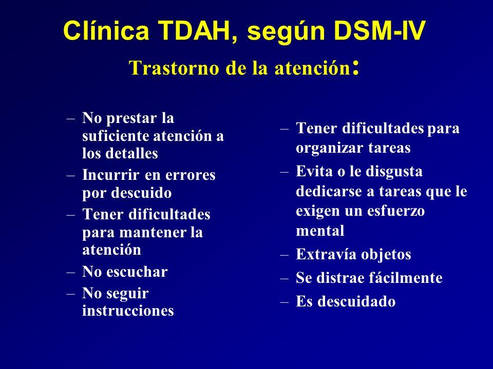 Clínica TDAH, según DSM-IV Trastorno de la atención : –No prestar la suficiente atención a los detalles –Incurrir en errores por descuido –Tener dific