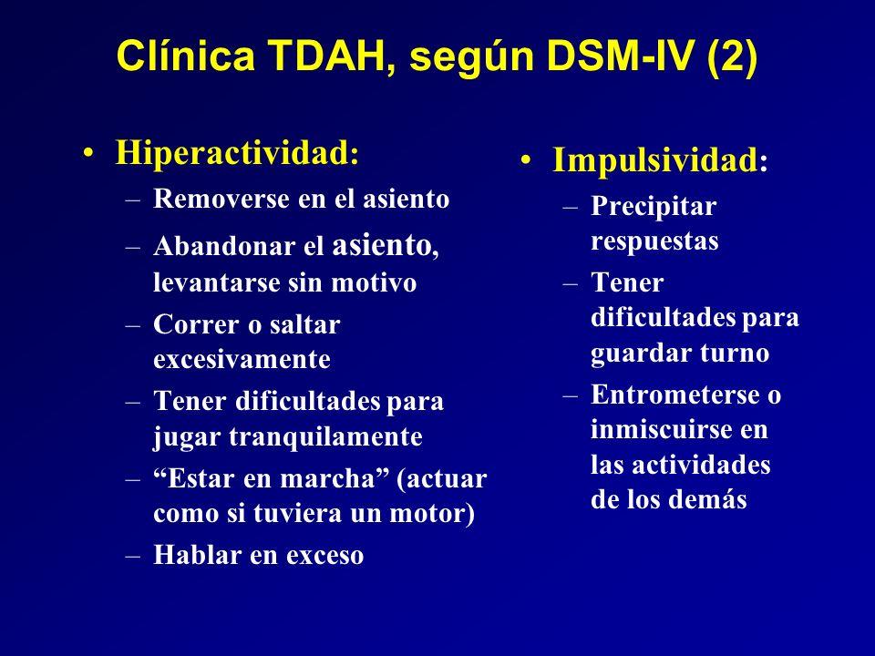 Clínica TDAH, según DSM-IV (2) Hiperactividad : –Removerse en el asiento –Abandonar el asiento, levantarse sin motivo –Correr o saltar excesivamente –