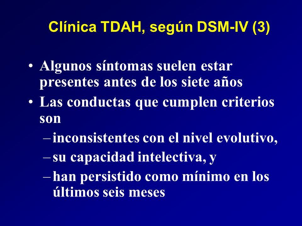 Clínica TDAH, según DSM-IV (3) Algunos síntomas suelen estar presentes antes de los siete años Las conductas que cumplen criterios son –inconsistentes