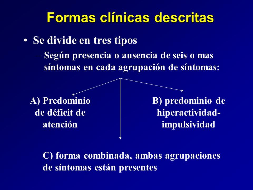Formas clínicas descritas Se divide en tres tipos –Según presencia o ausencia de seis o mas síntomas en cada agrupación de síntomas: A) Predominio de
