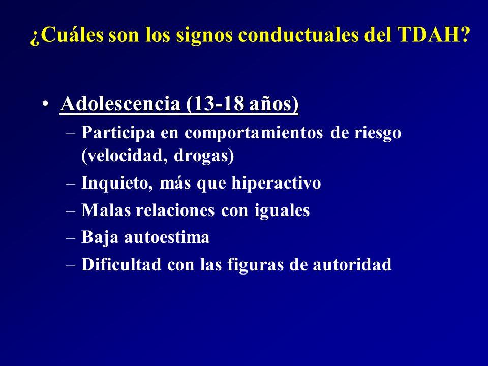¿Cuáles son los signos conductuales del TDAH? Adolescencia (13-18 años)Adolescencia (13-18 años) –Participa en comportamientos de riesgo (velocidad, d