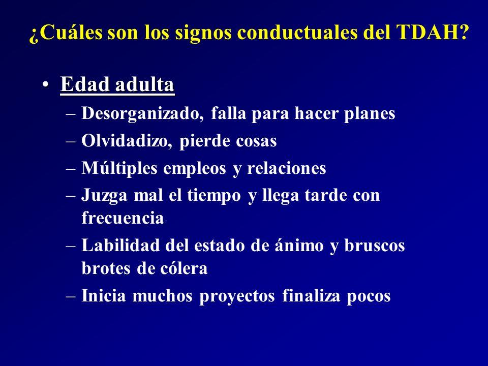 ¿Cuáles son los signos conductuales del TDAH? Edad adultaEdad adulta –Desorganizado, falla para hacer planes –Olvidadizo, pierde cosas –Múltiples empl