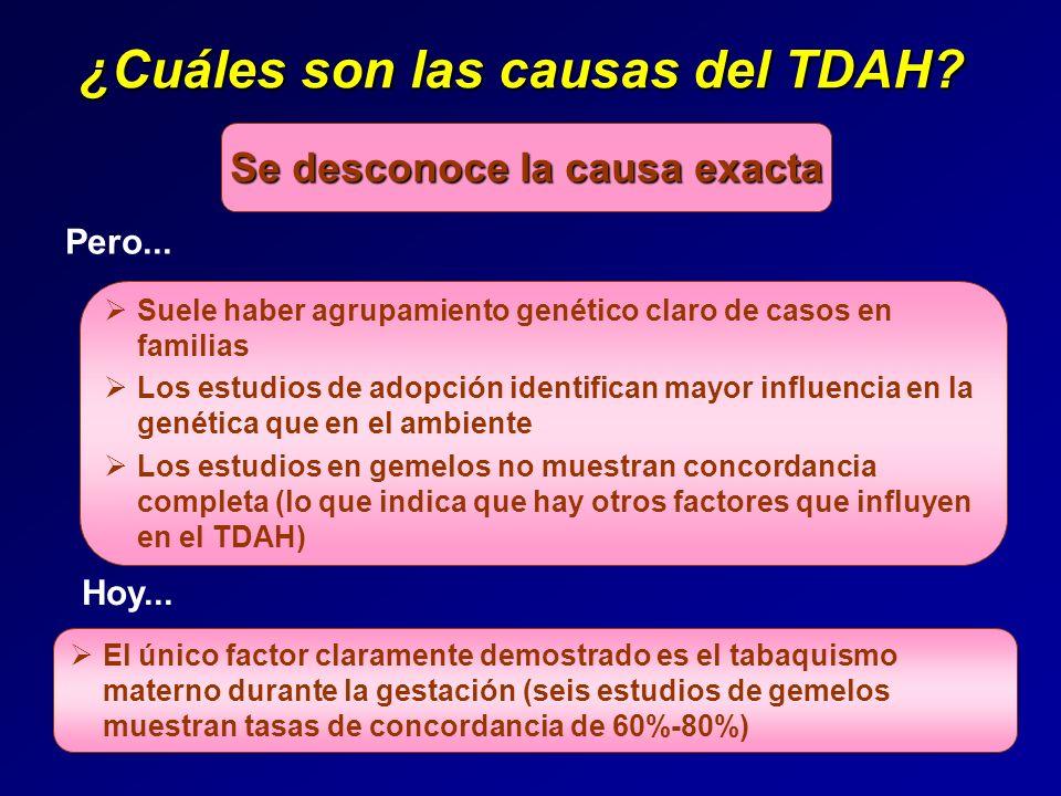 ¿Cuáles son las causas del TDAH? Se desconoce la causa exacta Suele haber agrupamiento genético claro de casos en familias Los estudios de adopción id