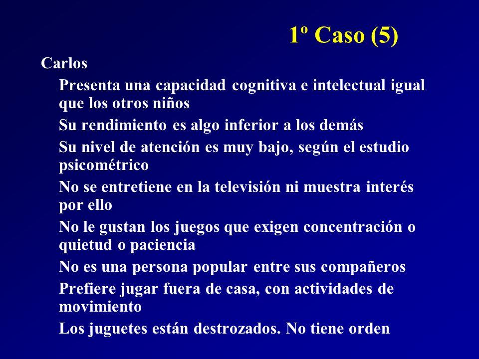 1º Caso (5) Carlos Presenta una capacidad cognitiva e intelectual igual que los otros niños Su rendimiento es algo inferior a los demás Su nivel de at