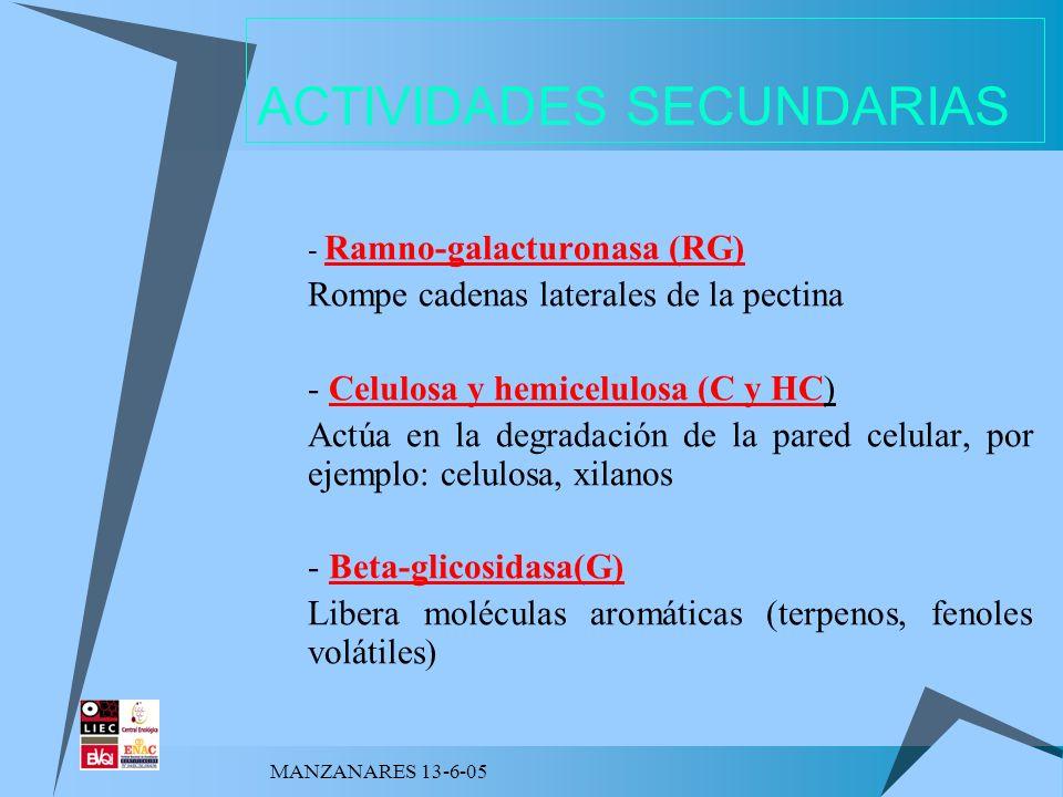 MANZANARES 13-6-05 ACTIVIDADES SECUNDARIAS - Ramno-galacturonasa (RG) Rompe cadenas laterales de la pectina - Celulosa y hemicelulosa (C y HC) Actúa e