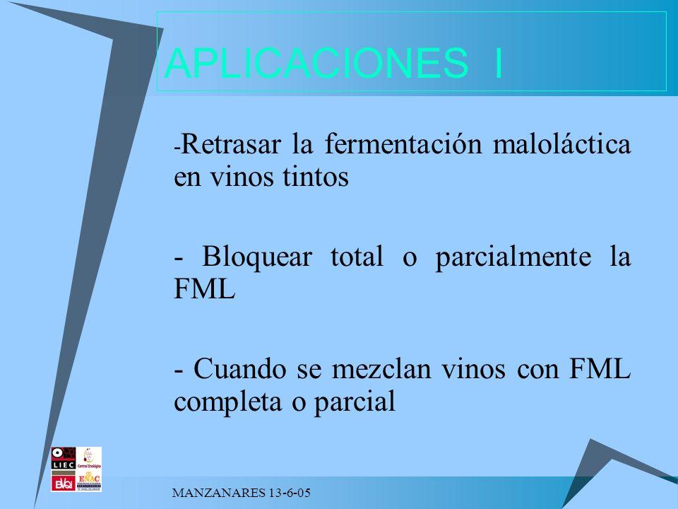 MANZANARES 13-6-05 APLICACIONES I - Retrasar la fermentación maloláctica en vinos tintos - Bloquear total o parcialmente la FML - Cuando se mezclan vi