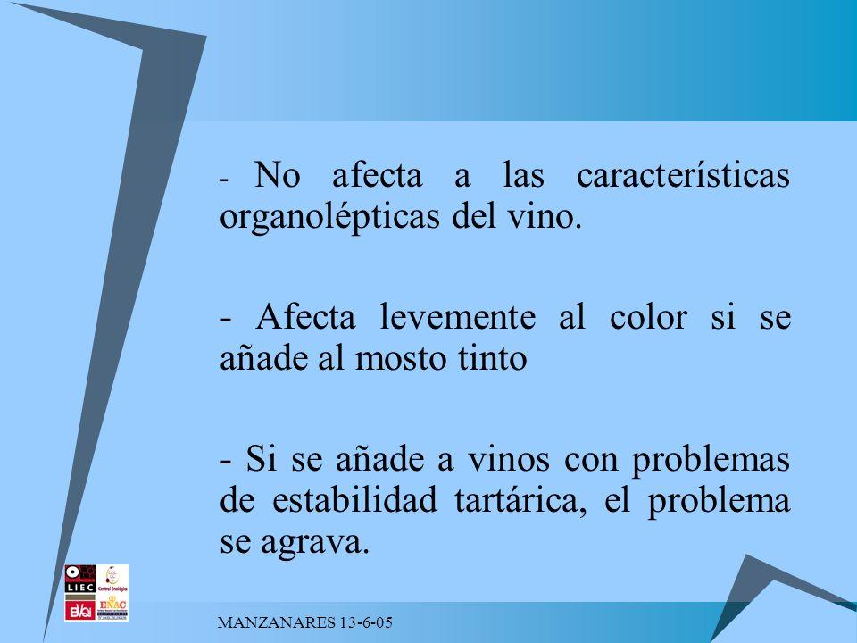 MANZANARES 13-6-05 - No afecta a las características organolépticas del vino. - Afecta levemente al color si se añade al mosto tinto - Si se añade a v