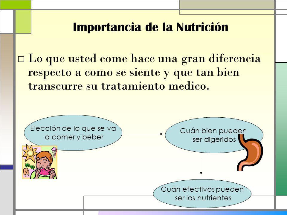 Lo que usted come hace una gran diferencia respecto a como se siente y que tan bien transcurre su tratamiento medico.