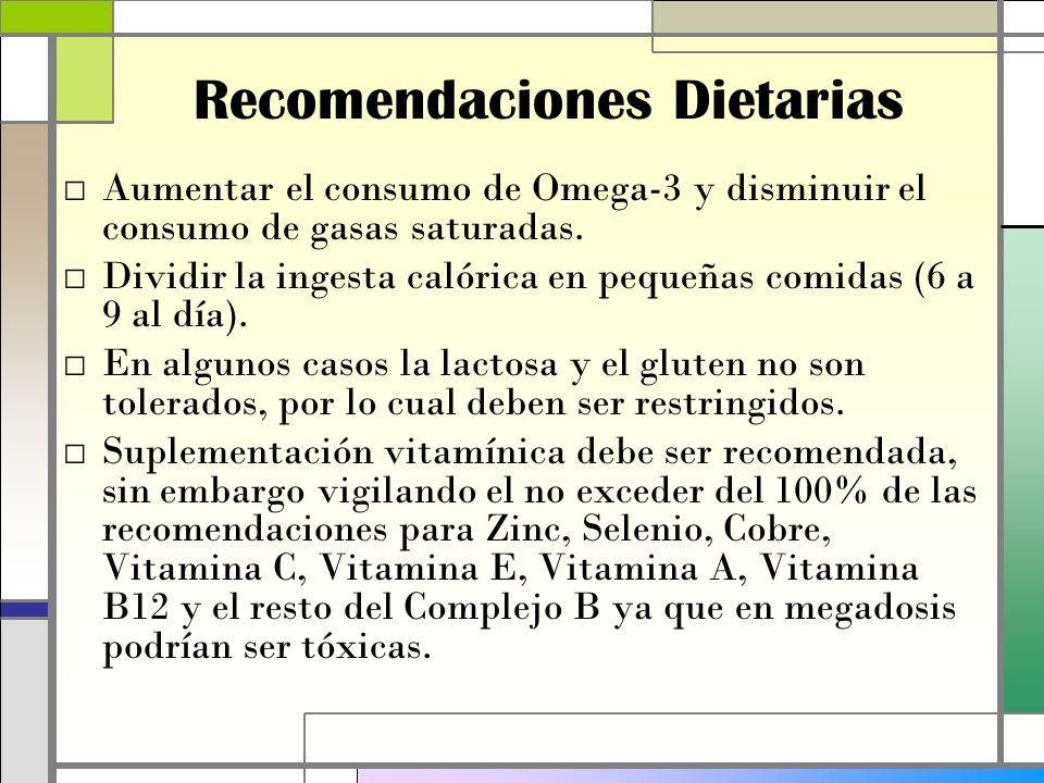 Recomendaciones Dietarias Aumentar el consumo de Omega-3 y disminuir el consumo de gasas saturadas.