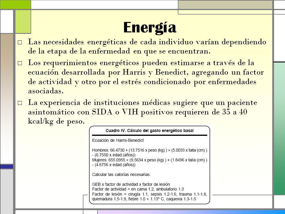 Energía Las necesidades energéticas de cada individuo varían dependiendo de la etapa de la enfermedad en que se encuentran.