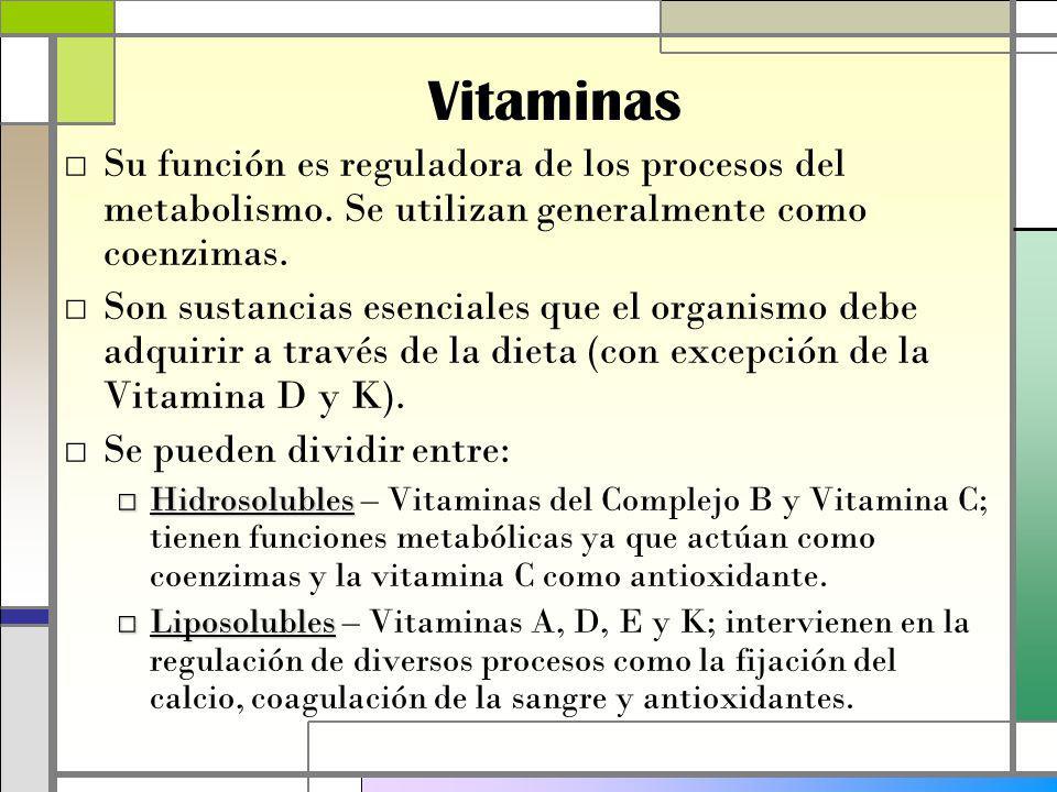 Vitaminas Su función es reguladora de los procesos del metabolismo.