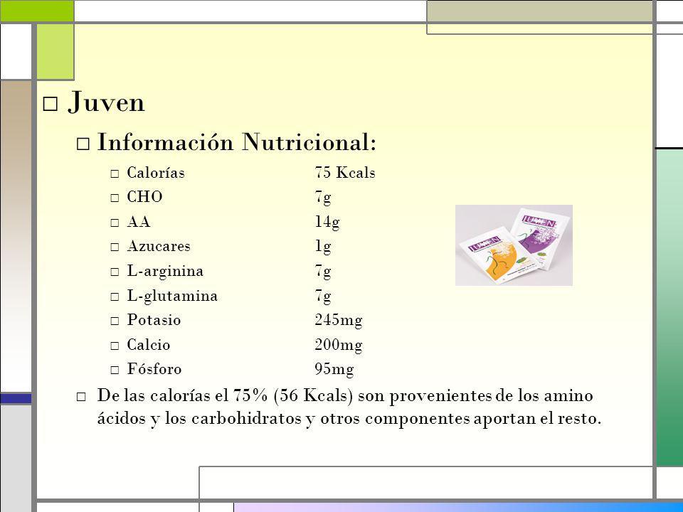 Juven Información Nutricional: Calorías75 Kcals CHO7g AA14g Azucares1g L-arginina7g L-glutamina7g Potasio245mg Calcio200mg Fósforo95mg De las calorías el 75% (56 Kcals) son provenientes de los amino ácidos y los carbohidratos y otros componentes aportan el resto.