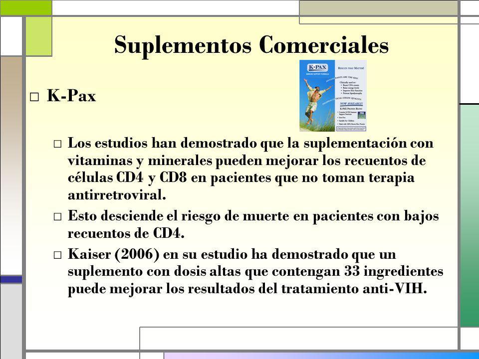 Suplementos Comerciales K-Pax Los estudios han demostrado que la suplementación con vitaminas y minerales pueden mejorar los recuentos de células CD4 y CD8 en pacientes que no toman terapia antirretroviral.