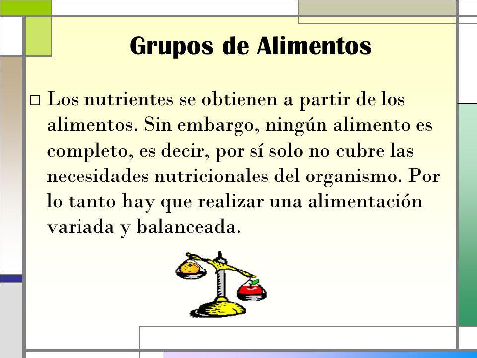 Grupos de Alimentos Los nutrientes se obtienen a partir de los alimentos.
