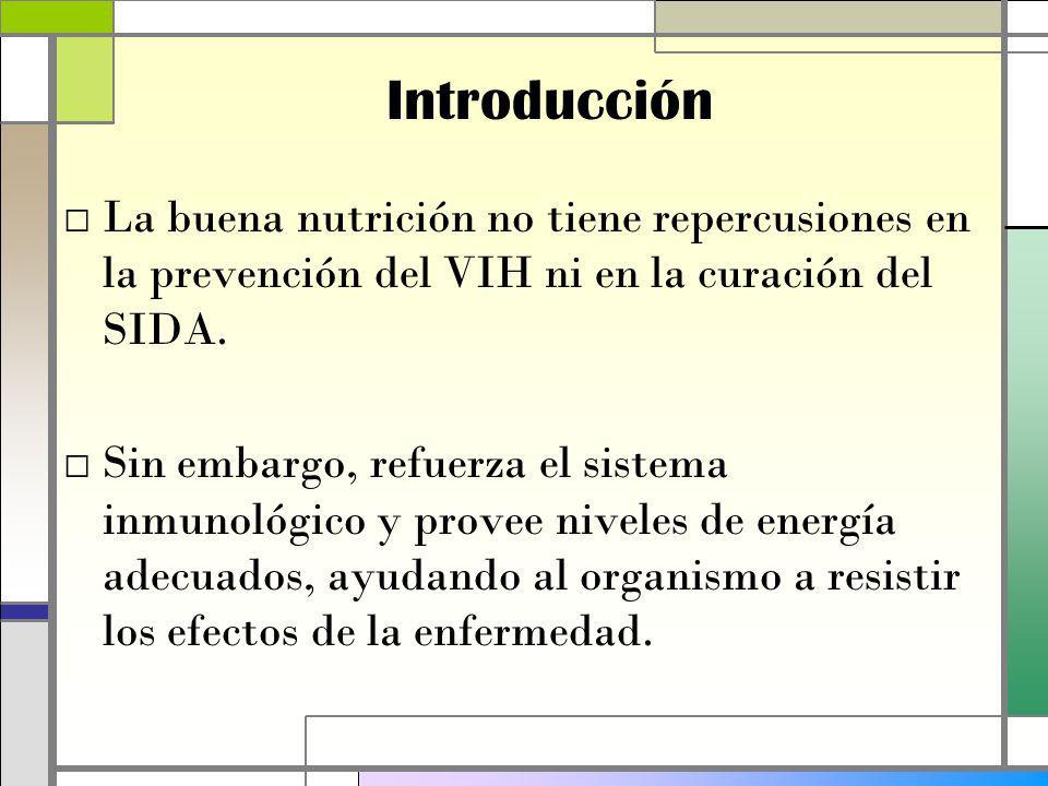 Introducción La buena nutrición no tiene repercusiones en la prevención del VIH ni en la curación del SIDA.