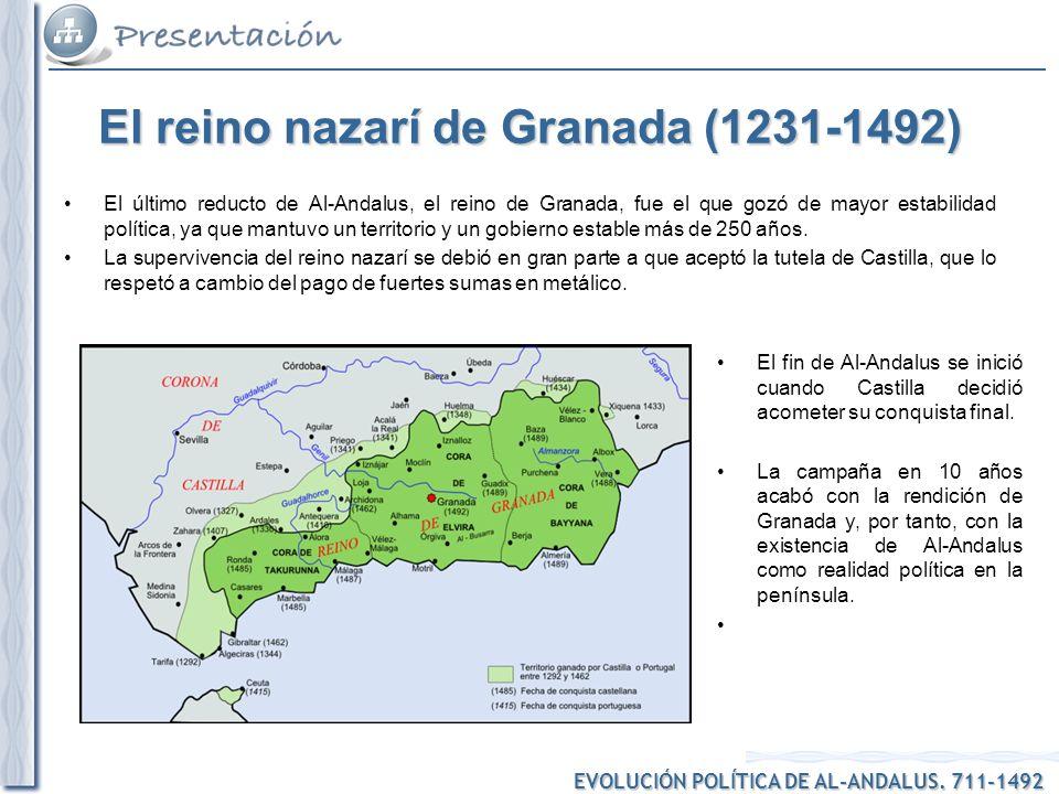 EVOLUCIÓN POLÍTICA DE AL-ANDALUS. 711-1492 El reino nazarí de Granada (1231-1492) El último reducto de Al-Andalus, el reino de Granada, fue el que goz