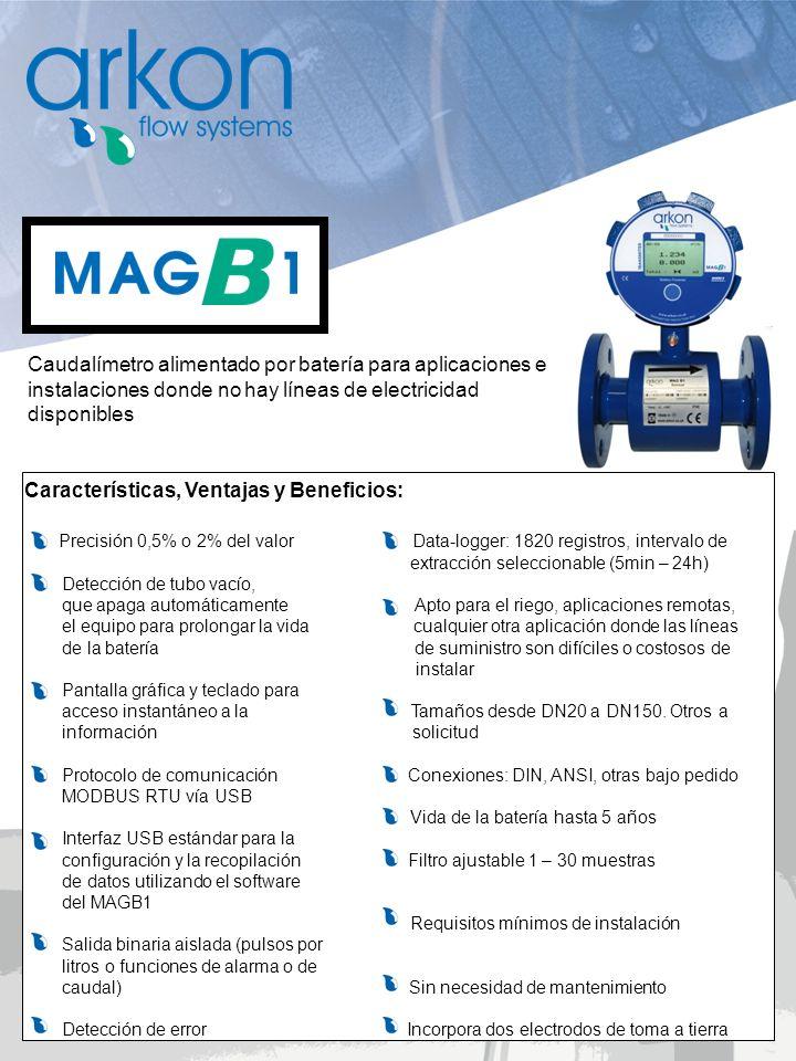Caudalímetro alimentado por batería para aplicaciones e instalaciones donde no hay líneas de electricidad disponibles Características, Ventajas y Bene