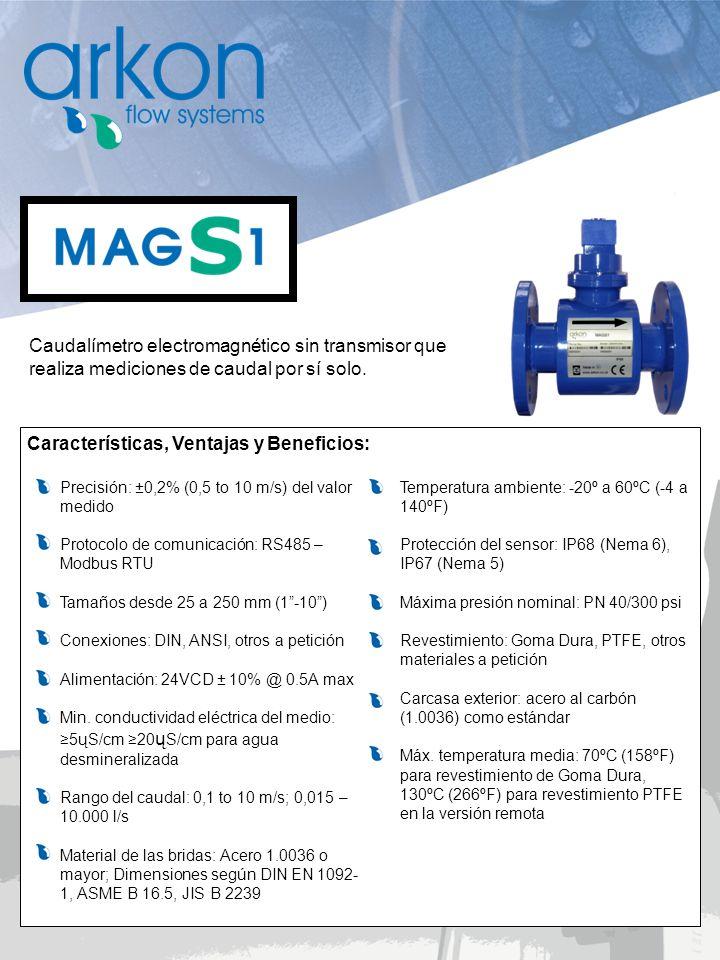 Caudalímetro electromagnético sin transmisor que realiza mediciones de caudal por sí solo. Características, Ventajas y Beneficios: Precisión: ±0,2% (0