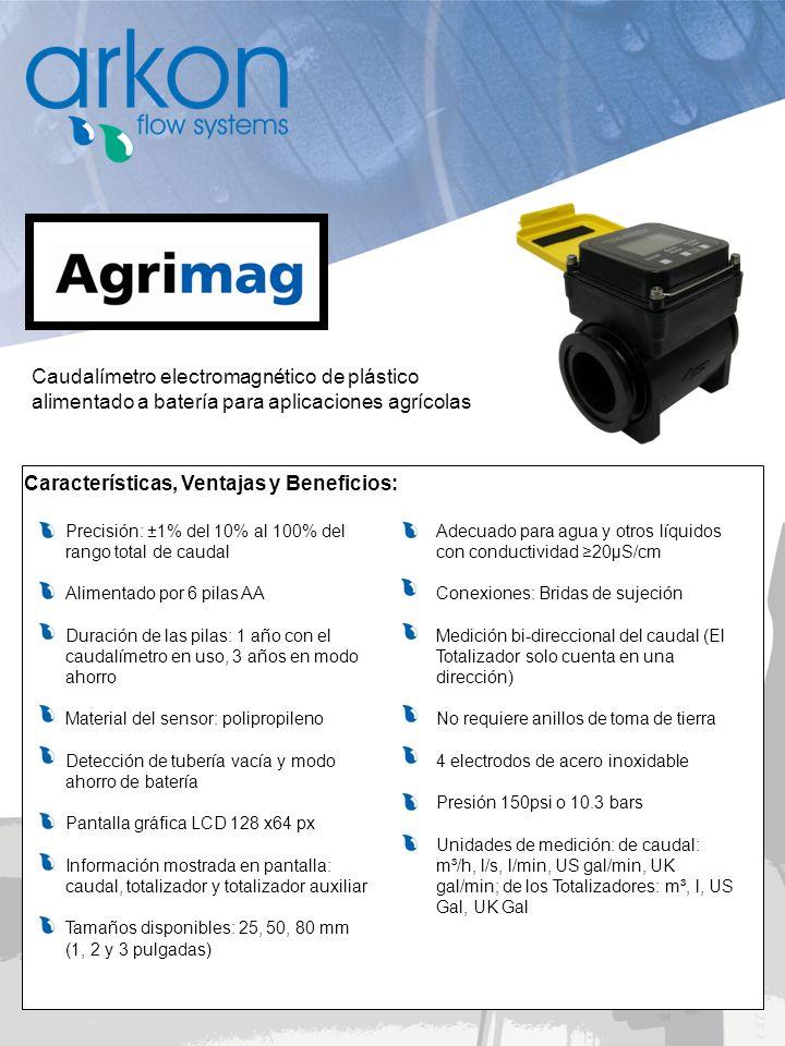 Caudalímetro electromagnético de plástico alimentado a batería para aplicaciones agrícolas Características, Ventajas y Beneficios: Precisión: ±1% del