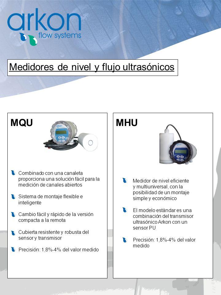 MQU MHU Medidores de nivel y flujo ultrasónicos Medidor de nivel eficiente y multiuniversal, con la posibilidad de un montaje simple y económico El mo
