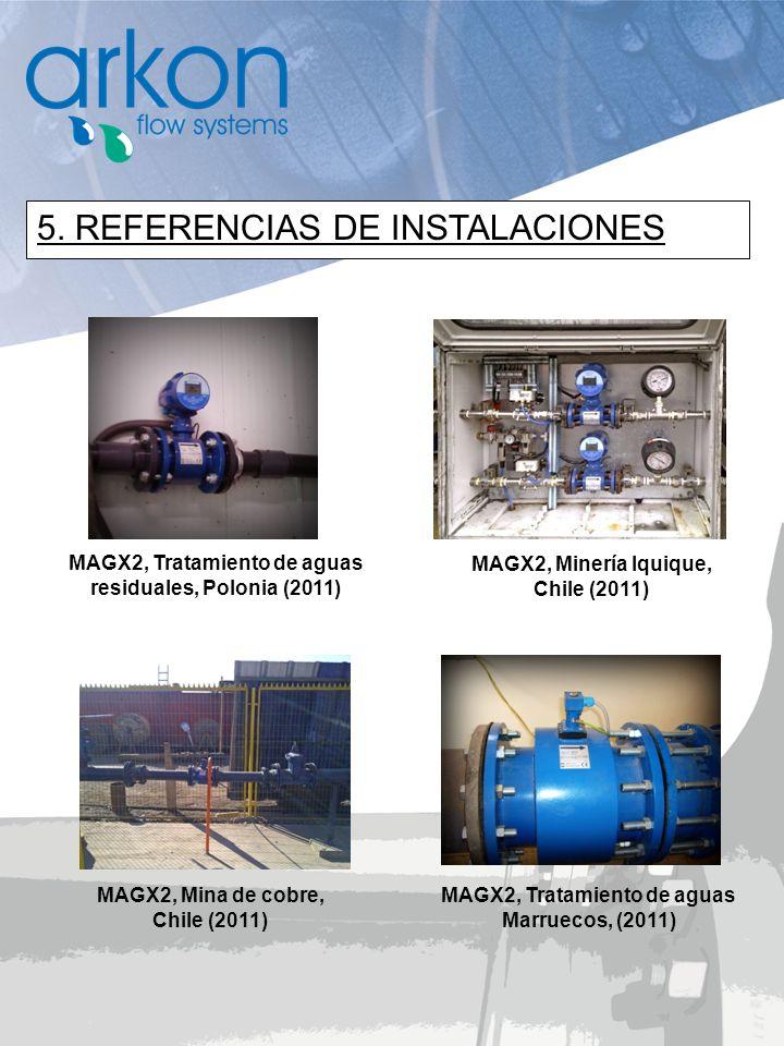 5. REFERENCIAS DE INSTALACIONES MAGX2, Minería Iquique, Chile (2011) MAGX2, Tratamiento de aguas Marruecos, (2011) MAGX2, Mina de cobre, Chile (2011)