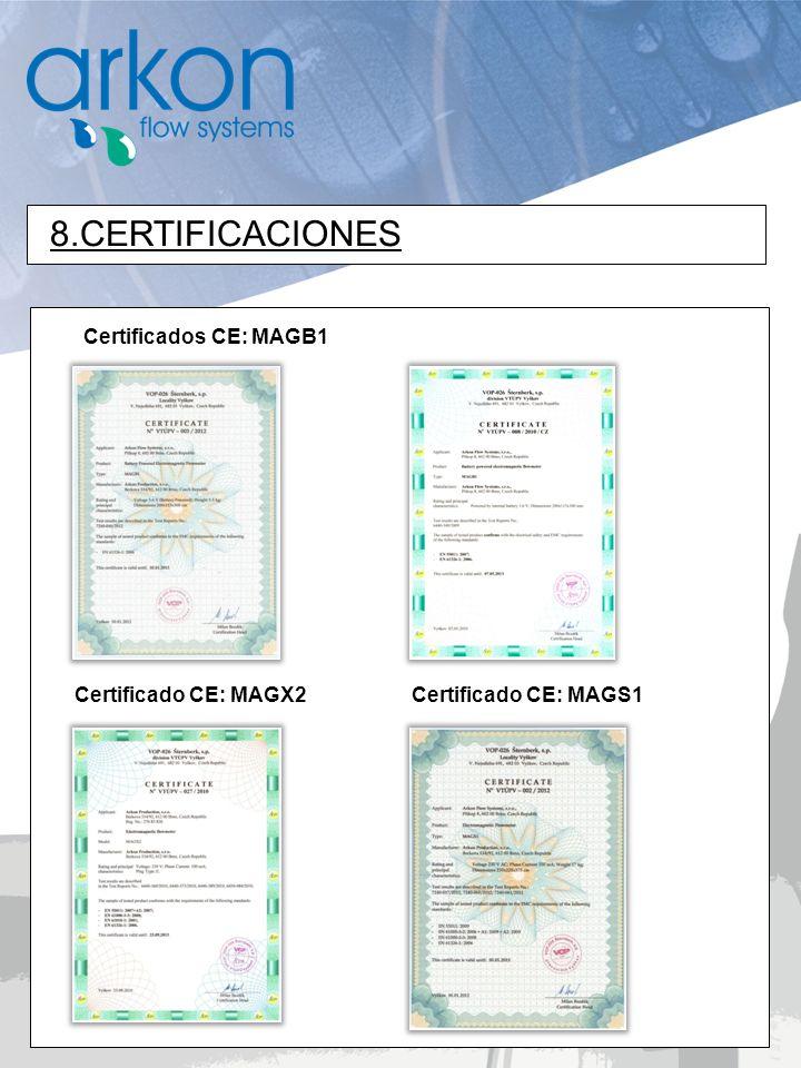 Certificados CE: MAGB1 8.CERTIFICACIONES Certificado CE: MAGX2Certificado CE: MAGS1