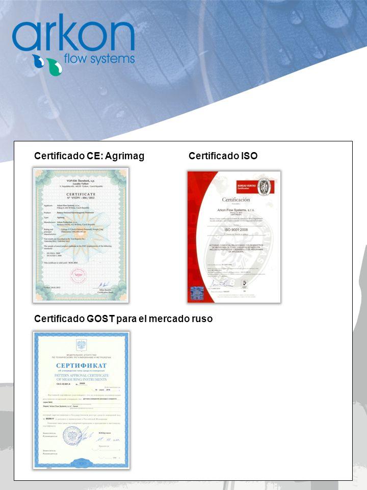Certificado CE: Agrimag Certificado GOST para el mercado ruso Certificado ISO
