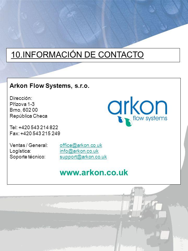 www.arkon.co.uk Arkon Flow Systems, s.r.o. Dirección: Přízova 1-3 Brno, 602 00 República Checa Tel: +420 543 214 822 Fax: +420 543 215 249 Ventas / Ge