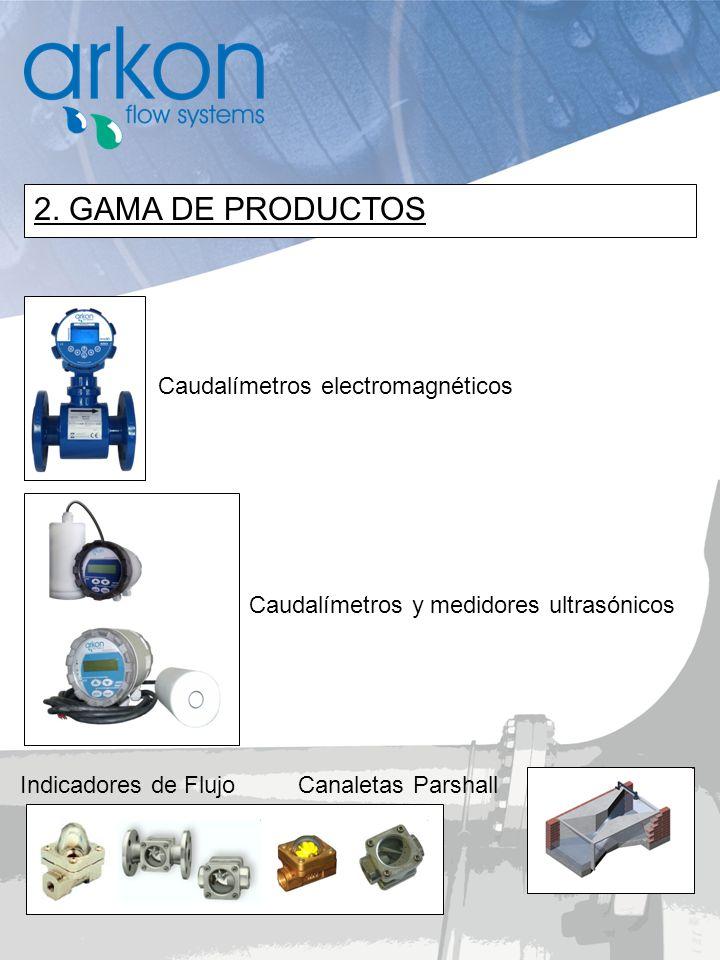 Indicadores de Flujo Caudalímetros electromagnéticos Caudalímetros y medidores ultrasónicos Canaletas Parshall 2. GAMA DE PRODUCTOS