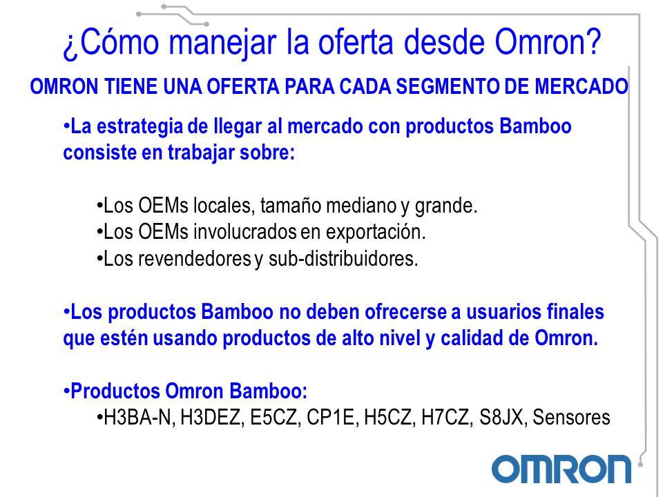 OMRON TIENE UNA OFERTA PARA CADA SEGMENTO DE MERCADO La estrategia de llegar al mercado con productos Bamboo consiste en trabajar sobre: Los OEMs locales, tamaño mediano y grande.