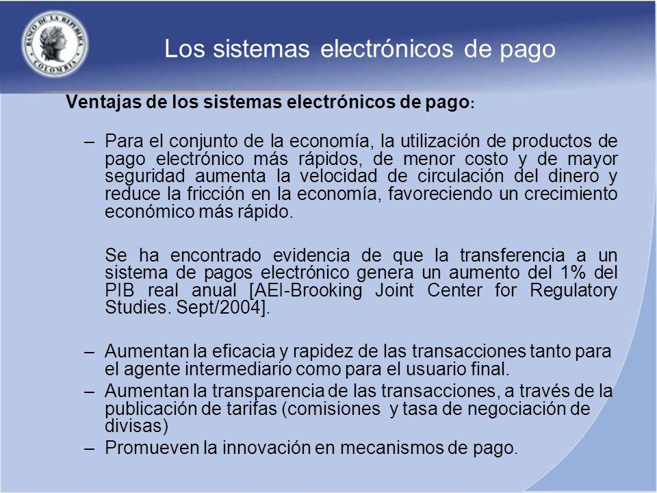 Los sistemas electrónicos de pago Ventajas de los sistemas electrónicos de pago : –Para el conjunto de la economía, la utilización de productos de pag