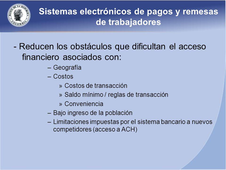 Sistemas electrónicos de pagos y remesas de trabajadores - Reducen los obstáculos que dificultan el acceso financiero asociados con: –Geografía –Costo