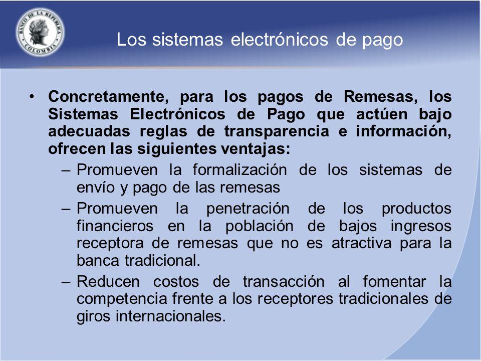 Los sistemas electrónicos de pago Concretamente, para los pagos de Remesas, los Sistemas Electrónicos de Pago que actúen bajo adecuadas reglas de tran
