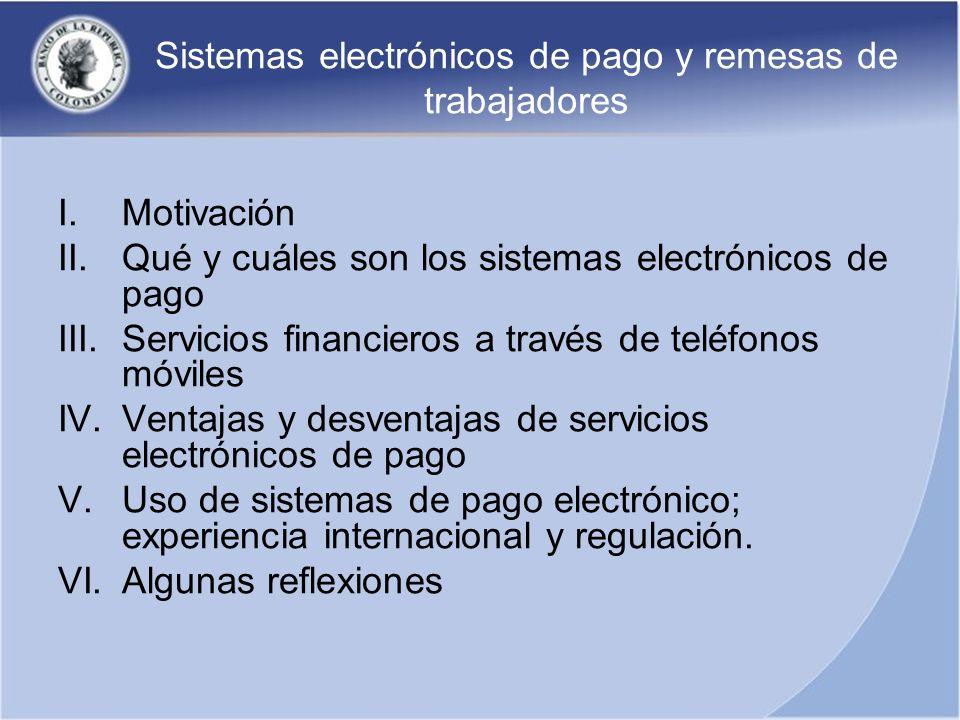 Sistemas electrónicos de pago y remesas de trabajadores I.Motivación II.Qué y cuáles son los sistemas electrónicos de pago III.Servicios financieros a