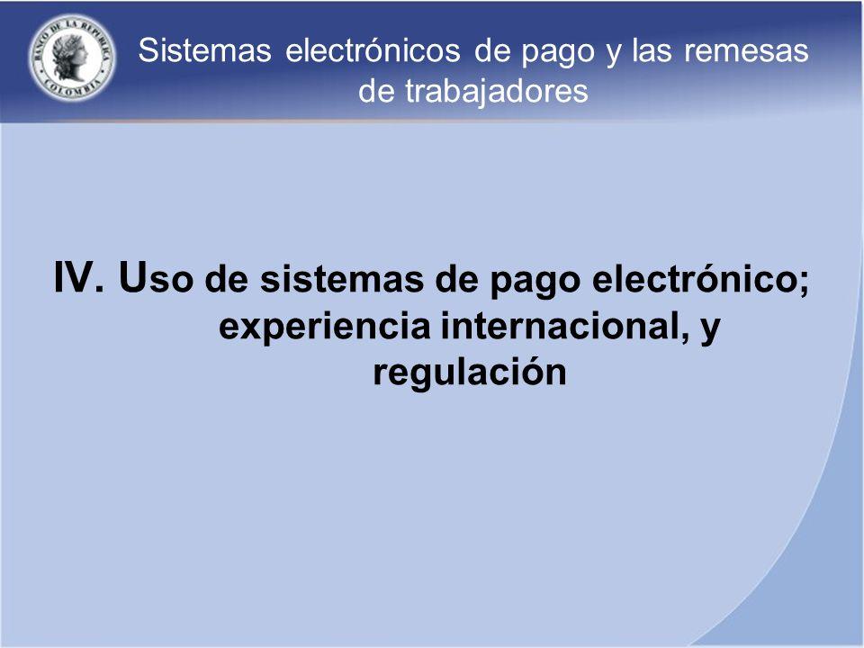 Sistemas electrónicos de pago y las remesas de trabajadores IV. U so de sistemas de pago electrónico; experiencia internacional, y regulación