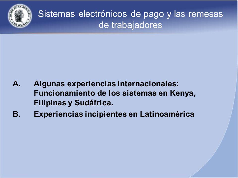 Sistemas electrónicos de pago y las remesas de trabajadores A.Algunas experiencias internacionales: Funcionamiento de los sistemas en Kenya, Filipinas