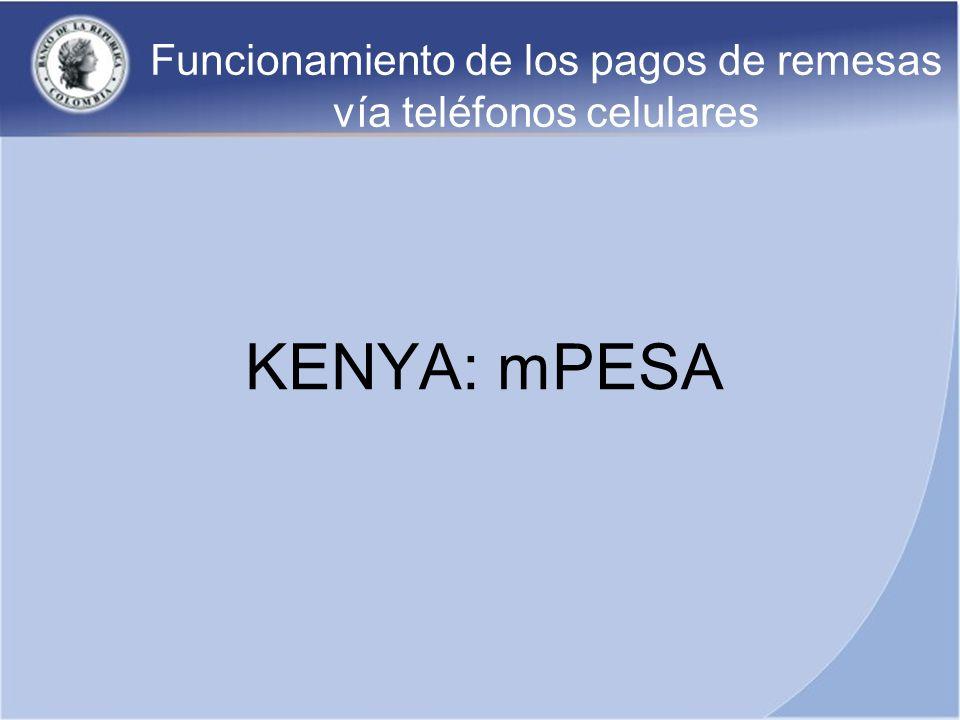 Funcionamiento de los pagos de remesas vía teléfonos celulares KENYA: mPESA