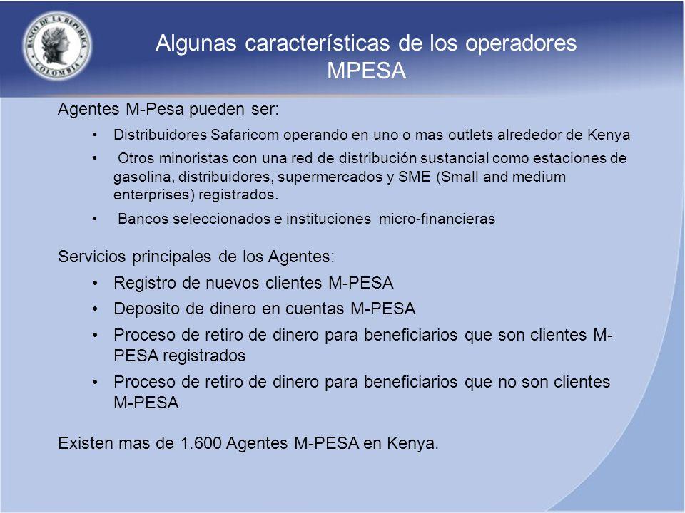 Agentes M-Pesa pueden ser: Distribuidores Safaricom operando en uno o mas outlets alrededor de Kenya Otros minoristas con una red de distribución sust